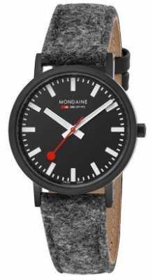 Mondaine Unisex Classic Black Dial Dark Grey Felt Leather Strap A6603031464SBH