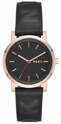 DKNY Womans Soho Rose Gold Black Leather NY2605