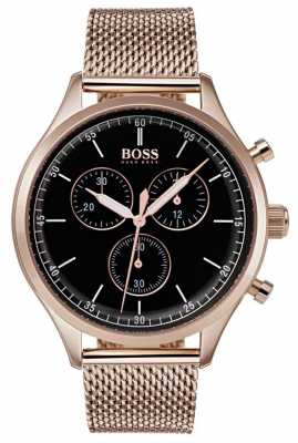 Hugo Boss Mens Companion Chronograph Rose Gold Tone Mesh Bracelet 1513548