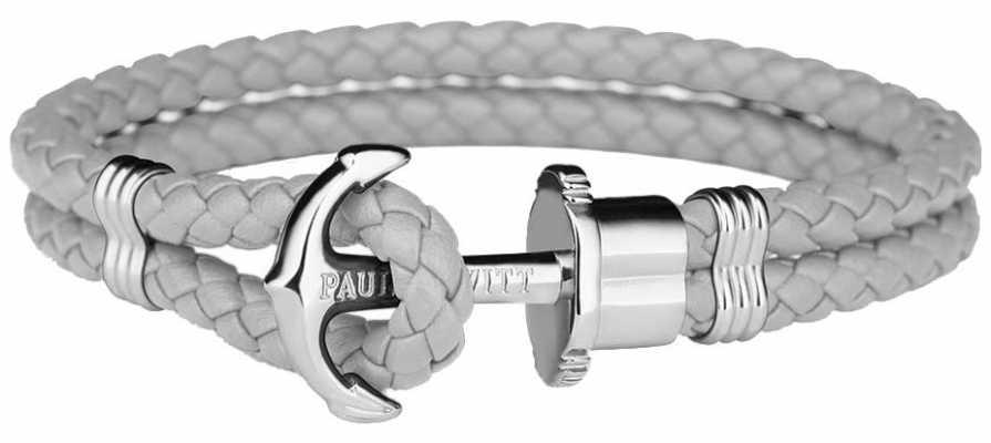 Paul Hewitt Phrep Silver Anchor Grey Leather Bracelet Medium PH-PH-L-S-GR-M