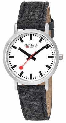 Mondaine Unisex Swiss Railways Classic Dark Grey Felt Leather Strap A6603031416SBH