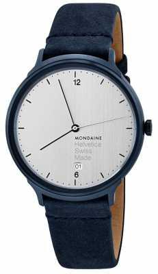 Mondaine Mens Hevetica No. 1 Light Blue Velour Strap MH1L2210LD
