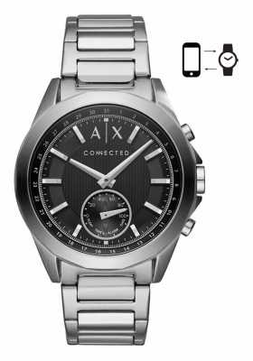Armani Exchange Mens Hybrid Smartwatch Stainless Steel Bracelet Black Dial AXT1006