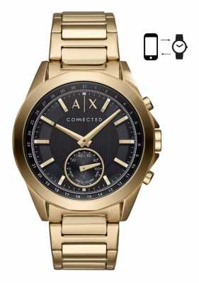 Armani Exchange Mens Hybrid Smartwatch Gold Tone Bracelet Black Dial AXT1008