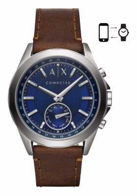 Armani Exchange Mens Hybrid SNartwatch Brown Leather Strap Blue Dial AXT1010