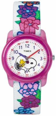 Timex Youth Analogue White Strap Snoopy Flowers TW2R41800JE