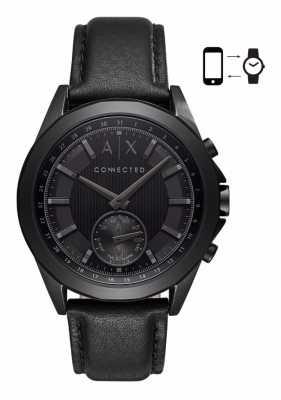 Armani Exchange Mens Drexler Leather Stainless Steel Hybrid Smartwatch AXT1009