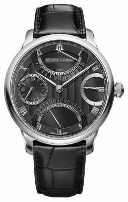 Maurice Lacroix MASTERPIECE DOUBLE RETROGRADE Mens Leather Black Watch MP6578-SS001-331-1