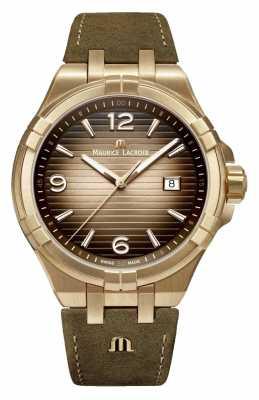 Maurice Lacroix Aikon Bronze Mens Vintage Leather Watch AI1028-BRZ01-720-1