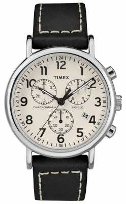 Timex Mens Weekender Chronograph Grey Leather Strap TW2R42800D7PF