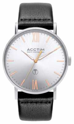 Acctim Mens Sterling Radio Controlled Black Leather Strap 60413