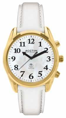 Acctim Robin Radio Controlled Talking White Leather Strap 60542