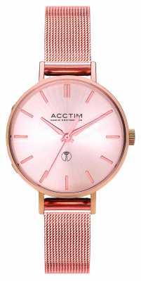 Acctim Womens Bonny Radio Controlled Rose Gold Mesh Bracelet 60510