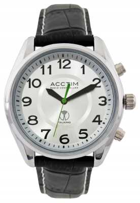 Acctim Mens Highclere Radio Controlled Talking Black Leather Strap 60357