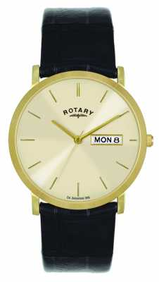 Rotary Mens Gold Plated Leather Strap GSI02624/03/DD