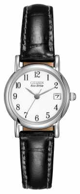 Citizen Womens White Dial Black Leather Strap Eco-Drive EW1270-06A