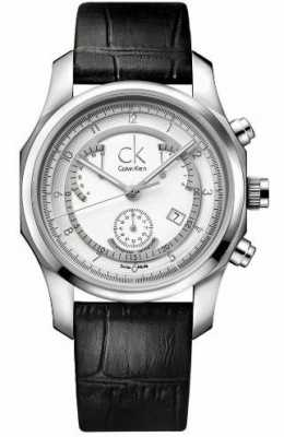 Calvin Klein Mens Chronograph Leather Strap Watch K7731120