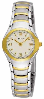 Pulsar Womens Two Tone Stainless Steel Bracelet Watch PEG406X1