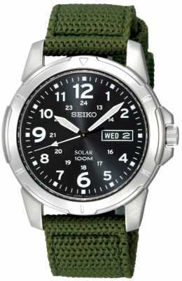 Seiko Mens Solar Powered Canvas Strap SNE095P2