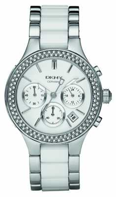 DKNY Womens Chronograph Two Tone Ceramic Bracelet NY8181
