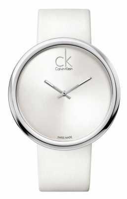 Calvin Klein Subtle Womens White Dial White Leather Strap K0V23120