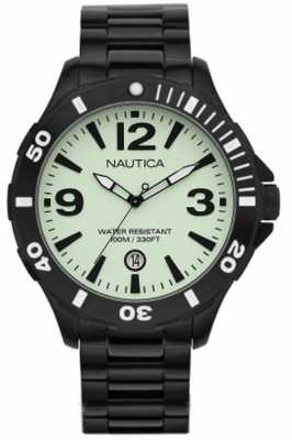 Nautica Mens Black Steel Case and Bracelet Watch A17572G