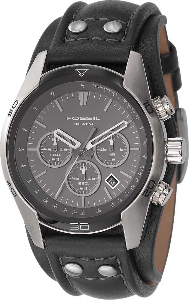 fossil mens chronograph black leather watch ch2586 fossil ch2586