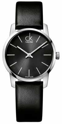 Calvin Klein City Womens Black Dial Black Leather Strap K2G23107