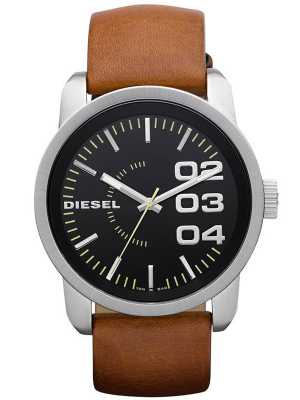 Diesel Mens Black Dial Tan Leather Strap DZ1513