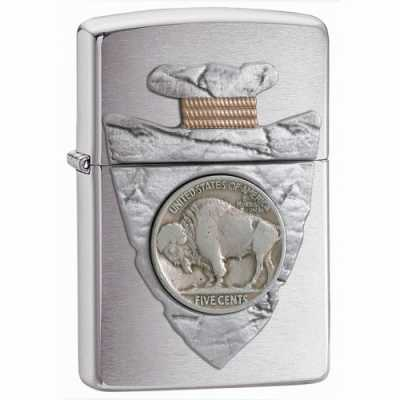 Zippo Piercing Buffalo Nickel Emblem Lighter Brushed Chrome Finish ZIPPO-20516