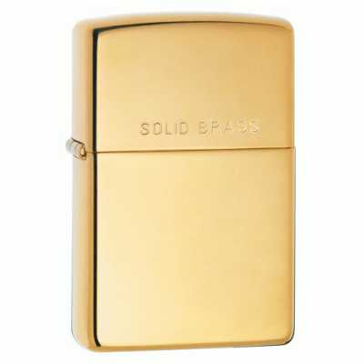 Zippo High Polish Brass Finish Lighter with 'Solid Brass' on lid ZIPPO-254