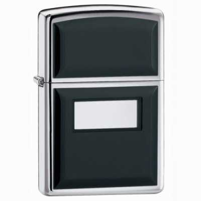 Zippo Ultralite Black Emblem Lighter High Polish Chrome Finish ZIPPO-355