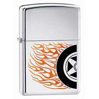 Zippo Burning Rubber Lighter High Polish Chrome Finish ZIPPO-24036